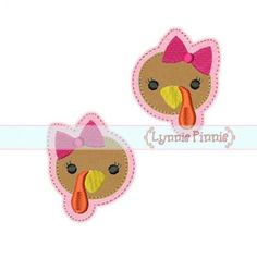 Embroidery Designs - Turkey Felt Clippies 4x4 - Welcome to Lynnie Pinnie.com! Instant download and free applique machine embroidery designs in PES, HUS, JEF, DST, EXP, VIP, XXX AND ART formats.