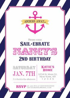 Items similar to Birthday Party Invitation - Nautical Anchor for Girl - DIY Printable - Navy & Pink on Etsy Anchor Birthday, Sailor Birthday, Boy First Birthday, Birthday Fun, First Birthday Parties, First Birthdays, Anchor Party, 10th Birthday, Birthday Ideas