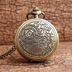 Retro Doctor Who Design Quartz Pocket Watch Men women Vintage Bronze Necklace Women's Lady FOB Chain Pendant Men's Gifts P316