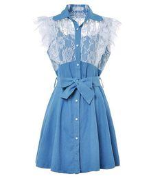 Lace Sleeveless Denim Dress