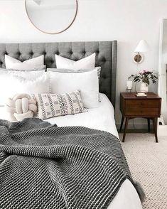 52 ideas for bedroom grey headboard inspiration Bedroom Bed, White Bedroom, Home Decor Bedroom, Bedroom Furniture, Bedroom Ideas, Master Bedroom, Bedroom Shelves, White Furniture, Bedroom Designs