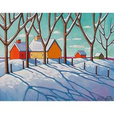 """Fine Art Print Reproduction by Cathy Horvath 8.5""""x11"""" Modern Giclee Artwork, Winter Cottage Snow Trees, Cool Blue Shadows Folk Art Landscape"""