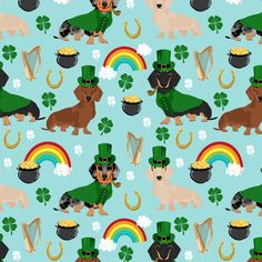 doxie leprechaun fabric - dachshund st patricks day design - blue by petfriendly
