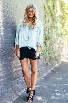 chambray button-up + black lace shorts + black lace-up sandals