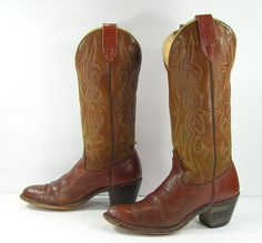 e4fc7afe27b0 vintage cowboy boots women s 7.5 M B brown leather cowgirl Laredo heel  lizard print country