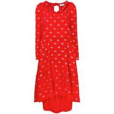 Balenciaga Hybrid V-neck Dress (€3.955) ❤ liked on Polyvore featuring dresses, red, v neck dress, red mini skirt, high low dresses, red v neck dress and long sleeve dress