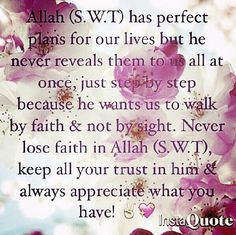 #Allah (swt) has #perfect plan for you, O Allah make us #patient until then