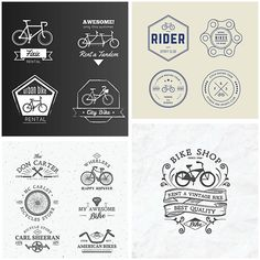 Hipster bike badges and logo rental service set vector