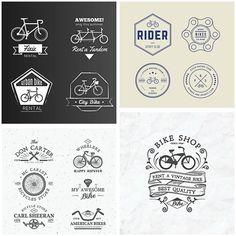 Hipster bike badges and logo rental service set vector