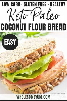 Keto Low Carb Coconut Flour Bread Recipe - A low carb coconut flour bread recipe packed with seeds, for a delicious multi-grain taste without nuts or grains! Keto paleo bread made with coconut flour is perfect for sandwiches. Easy Keto Bread Recipe, Lowest Carb Bread Recipe, Bread Recipes, Keto Recipes, Cooking Recipes, Ketogenic Recipes, Dinner Recipes, Lunch Recipes, Coconut Flour Bread