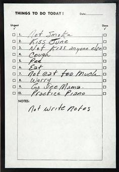 Johnny Cash's to-do list.