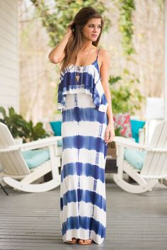"""Wild Waves Maxi Dress, Blue"""