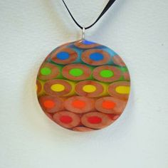 Muted Rainbow Pencil Pendant, Colored Pencil Jewelry by JenMaestre
