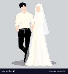 Wedding couple muslim vector image on VectorStock Wedding Couple Cartoon, Cute Couple Cartoon, Cute Couple Art, Cute Love Cartoons, Bride Cartoon, Wedding Illustration, Couple Illustration, Cute Muslim Couples, Cute Couples