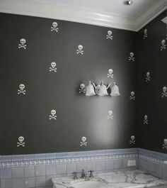 Stenciled Skull Wall Decor Love This