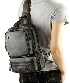 Men's Unbalance Chest Pack Leather Multipurpose Backpack Travel Sling Bag