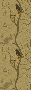 CFA Voysey c. 1907    Though the colors in this pattern may suggest late autumn the blackbird and her nestlings speak of the spring to come. The undulating swirl of the branches and the contented squirrel suggest a peaceful woodland kingdom.