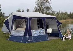 Camp-let Concorde trailer tent Berth:	  	 4 Bed size:	  	 215 x 160 cm Overall size:	  	 18m2 incl. 250 cm deep awning   Trailer closed size cm:	  	 323 (L) x 160 (W) x 95 (H) Trailer open size cm:	  	 526 (L) x 400 (W)