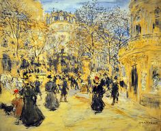 The Boulevard by Jean-Francois Raffaelli, (French 1850 - 1924)