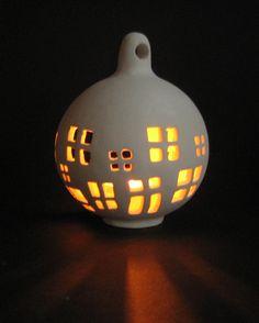 "Candle holder ""Cozy Home"" - Ceramic Outdoor Garden handmade lantern."