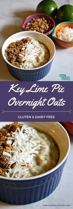 Coconut and Lime flavors are perfect for starting off your day! They're bright and delicious in this Key Lime Pie Overnight Oats that I absolutely love as a Spring & Summer breakfast meal. Place you can make it in advance - love that! Key Lime Overnight Oats, Low Calorie Overnight Oats, Overnite Oats, Best Breakfast Recipes, Brunch Recipes, Mason Jar Meals, Clean Eating Breakfast, Key Lime Pie, Dairy Free Recipes