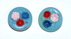 1852~Blue Vintage Plastic Buttons Red White Blue Hand Painted Flowers**