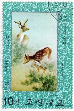 People's Democratic Republic of Korea.  EMBROIDERY.  DEER.  Scott 1515 A911, Issued 1976 Aug 8, Surface Coated Paper, Perf. 12, 10. /ldb.