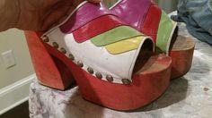 "Pyscadelic 1970 Womens 4.75"" PLATFORM Heels DISCO Rainbow  GLAM ROCK Shoes Sz 6  #Heels"