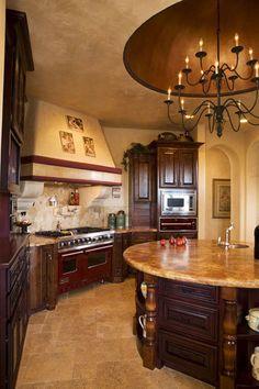 Amazing Tuscan Kitchen design ideas and decor .Love the round island Tuscan Kitchen Design, Tuscan Design, Kitchen Interior, Kitchen Decor, Tuscan Kitchens, Kitchen Designs, Kitchen Ideas, Round Kitchen, Decorating Kitchen