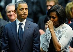 President Barack Obama With 1st Lady Michelle Obama....  Tucson Memorial....