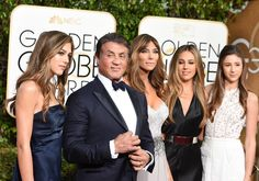 Sylvester Stallone and his family arrive for the 73nd annual Golden Globe Awards, January 10, 2016, at the Beverly Hilton Hotel in Beverly Hills, California.