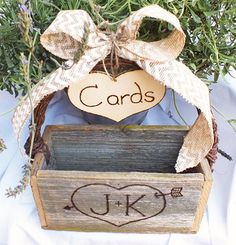 Personalized Wedding Card Box- Gift Cards Box, With Chevron Burlap ...