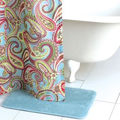 Paisley shower curtain for guest bathroom.