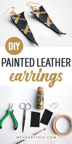 Looking for DIY painted leather earrings? This creative DIY project is so stylish and a great way to personalize your style. These hand painted leather earrings are super trendy and look great with any outfit. it yourself clothes Diy Leather Paint, Painting Leather, Diy Furniture Projects, Easy Diy Projects, Diy Earrings, Leather Earrings, Do It Yourself Inspiration, Diy Candles, Diy Painting