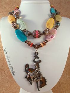 Western Cowgirl Necklace Set  Chunky Multicolored Howlite Turquoise and Crystal - Wyoming Bucking Horse by Outwestjewelry on Etsy