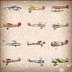 Vintage Airplane Collection print 15x15 by FlightsByNumber on Etsy, $45.00