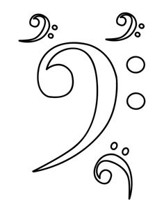 Bass Clef Coloring Page. Free PDF download at http://musiccoloringpages.net/download/bass-clef/