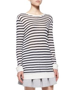 T9Y59 T by Alexander Wang Long-Sleeve Striped Tee, Ink/Ivory
