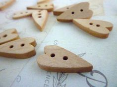 Wooden Buttons - Heart Shaped Natural Wooden Buttons - Pack of 10