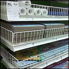 Declined vs Flat Shelving #1 Fencing, The Office, Shelving, Craft Supplies, Shelf, Home Appliances, Retail, Display, Flats