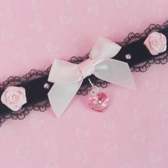 Cute And Kawaii Handmade Lace And Black Velvet Choker Embellished With Swarovski Crystals And Ribbon Roses With A Heart Pendant. By: etsy.com/shop/PastelPunkDoll