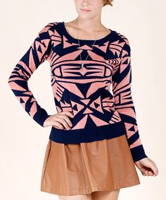 Take a look at this Pink & Navy Geometric Sweater by Champagne & Strawberry on #zulily today!