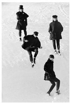 The Beatles Leaping Down Snowbank, Austria, 1965 (Ref.#B25) The Fab Four, My Children, The Beatles, Austria, Batman, Superhero, Artist, Fictional Characters, Image