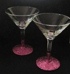 Pink Martini Glass Set. $15.00, via Etsy. Love the pink glitter!