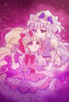Cure Macherie and Cure Amour Pretty Cure, Sailor Moon Wallpaper, Glitter Force, Girls Series, Glitter Wallpaper, Fan Art, Manga, Magical Girl, Amazing Art