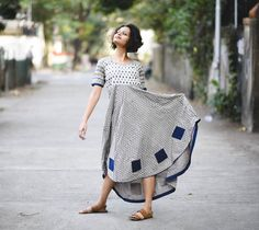Rustorange Grey & Blue Ikat & Dabu Printed Anarkali Kurti