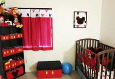15 mickey mouse inspired bedrooms for kids - rilane Mickey Mouse Nursery, Mickey Mouse House, Disney Nursery, Minnie Mouse, Red Nursery, Baby Nursery Themes, Nursery Ideas, Disney Rooms, Room Themes