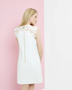 Embroidered lace shift dress - White | Dresses | Ted Baker UK