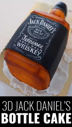 Fun DIY Ideas Made With Jack Daniels - Recipes, Projects and Crafts With The Bottle, Everything From Lamps and Decorations to Fudge and Cupcakes |  3D Jack Daniels Bottle Cake  |   http://diyjoy.com/diy-projects-jack-daniels