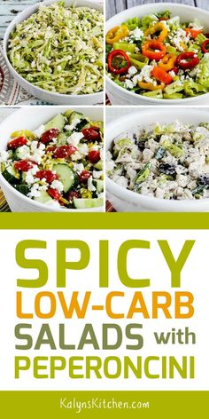 For everyone else who loves slightly spicy Greek Peperoncini, he's a great collection of Spicy Low-Carb Salads with Peperoncini! These are the low-carb salads using Peperoncini that I make over Read Best Salad Recipes, Slaw Recipes, Fun Easy Recipes, Veggie Recipes, Low Carb Recipes, Healthy Recipes, Low Carb Salad Dressing, Salad Dressing Recipes, Spicy Tuna Salad